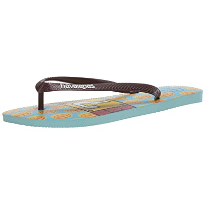 Havaianas Mario Bros Sandal, Ice Blue/Dark Brown, 45/46 (US Men's 13) M | Sandals