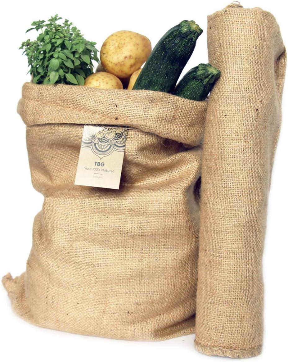 Sacos Grandes de Yute 100% Natural - Pack 2 Bolsas Ecológicas. Organizador Rústico, 58x42 cm