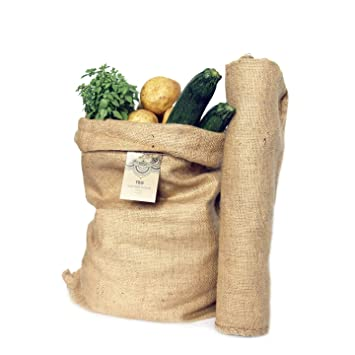 TBG Pack 4 Sacos Grandes de Yute 100% Natural - Bolsas Ecológicas para Cocina, Jardín y Huerto Urbano. Organizador Rústico. Bolso Ecológico para ...