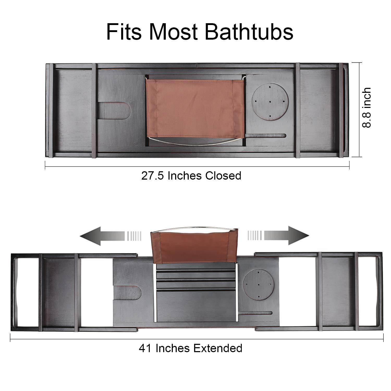 Bamboo Luxury Bathtub Caddy, Bamboo Bath Tub Tray with Extending Sides, Shower Organizer by TDYNASTY DESIGN (Image #4)