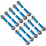 powerday®10pairs Aluminum M3 Link Rod End Ball Joint CW CCW for 1/10 RC Car Crawler Buggy Blue