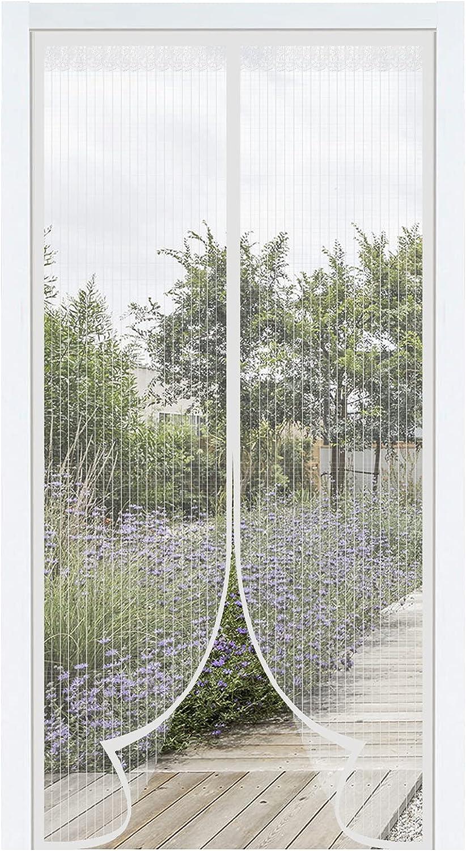 Mosquitera magnética de Manos Libres de Verano. Mosquitera Puerta Magnética. Cortina Abatible Antimosquitos. Malla proteccion para puertas con velcro adhesivo. (150 X 250 Cm. Blanco)