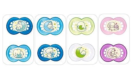 Mam Chupete Noche De 6 Meses goma Juego de 2 chupetes Box Esterilización azar colores mezclados