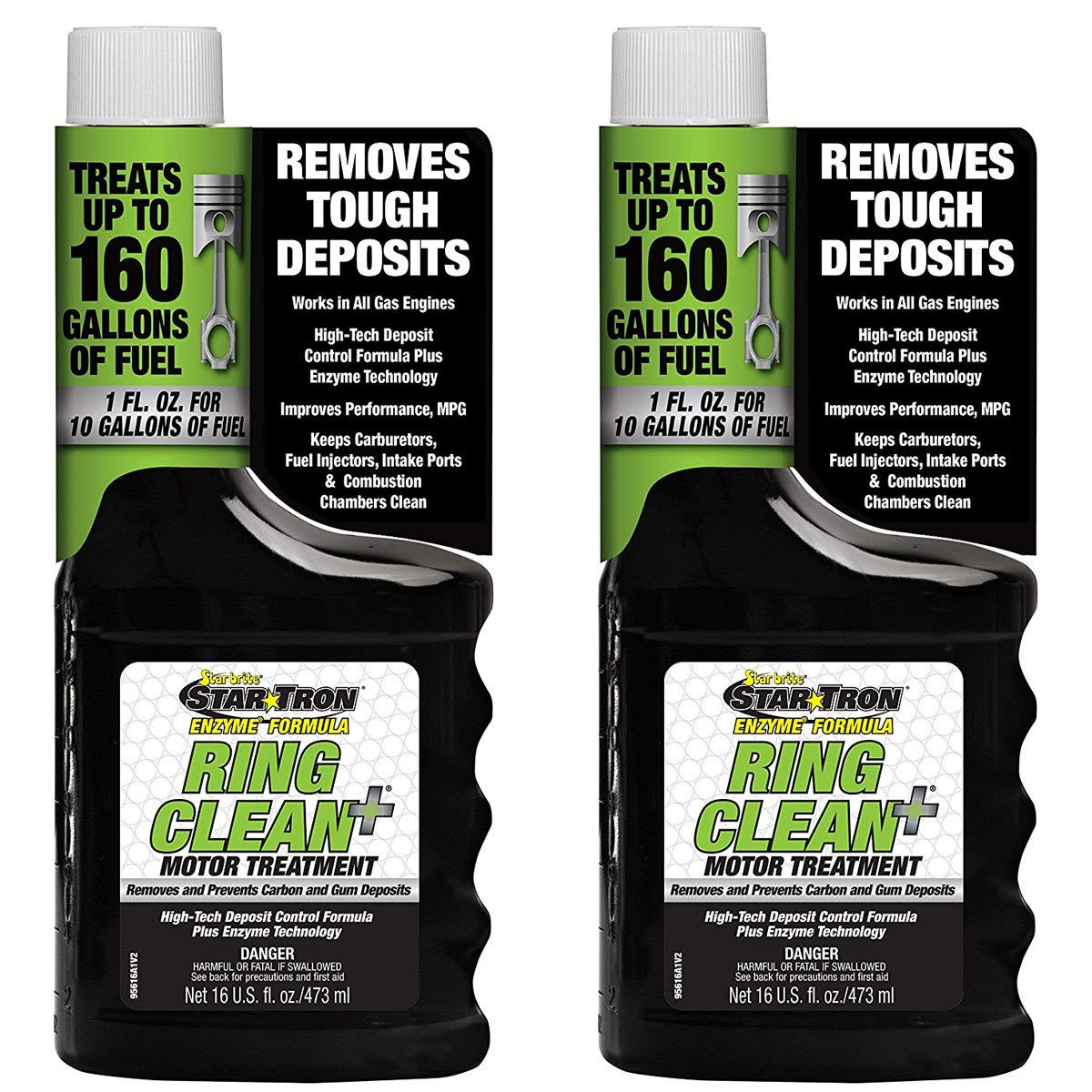 2 Pack Star Tron Ring Clean + Deposit Control Fuel Additive Enzyme Technology 16oz Star Brite