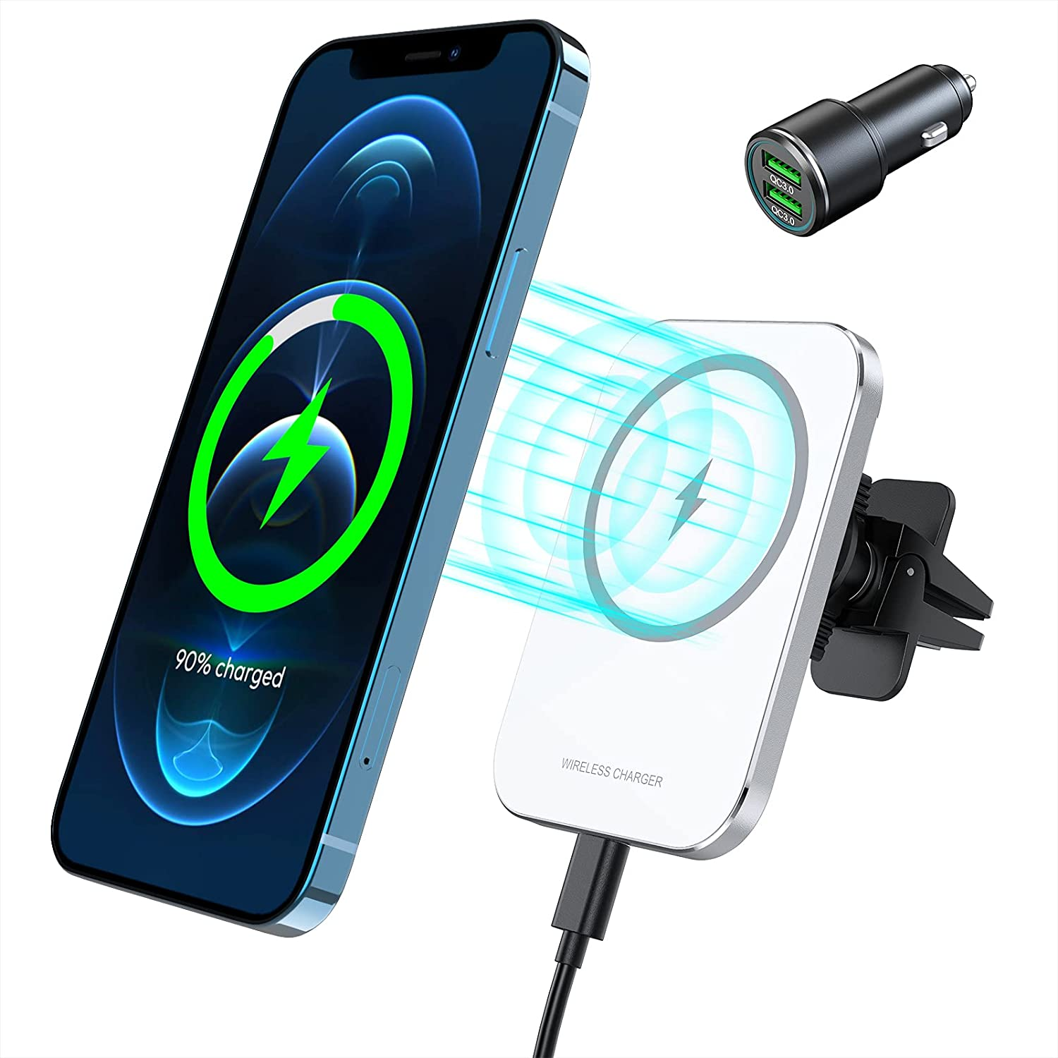 15W Magnetic Wireless Car Charger for iPhone 12/12 Pro/12 Pro Max/12 Mini, Powerful Suction Auto-Alignment Mag-Safe Car Mount, Compatible with MagSafe Cases (with QC 3.0 Car Charger)