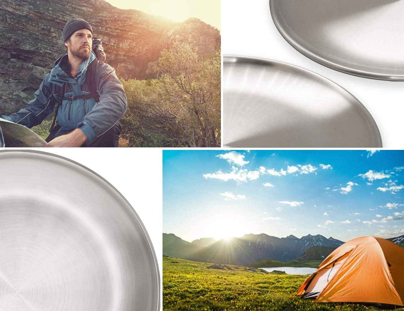 Camping-Teller Outdoor-Teller Bruch-sicher 17cm 2er Set Camping-Geschirr Outdoor Saxx/® 2X stabile Edelstahl-Teller Wandern Zelten