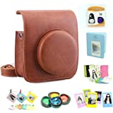 CAIUL Compatible Mini 90 Camera Case Accessories Bundle Kit for Fujifilm Instax Mini 90, Brown (7 Items)
