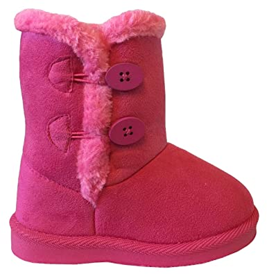 8d769e647b33 NEW Babys Girls Infant Kids Toddler Flat Winter Fur Boots Pom Pom Shoes Sz  2-