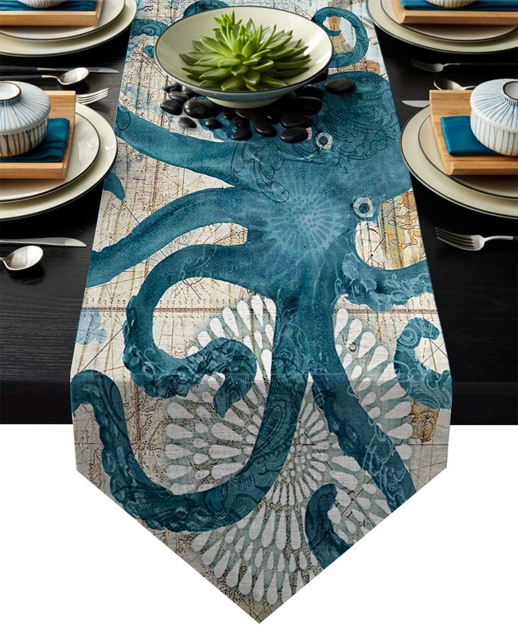 """Vandarllin Cotton Linen Table Runner Dresser Scarves Octopus Ocean Animal Nautical Themed&Retro Non-Slip Burlap Table Setting Decor for Wedding Party Holiday Dinner Home (14""""x72"""")"""