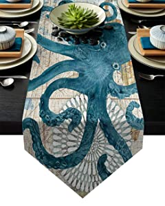 "Vandarllin Cotton Linen Table Runner Dresser Scarves Octopus Ocean Animal Nautical Themed&Retro Non-Slip Burlap Table Setting Decor for Wedding Party Holiday Dinner Home, 13""x70"""