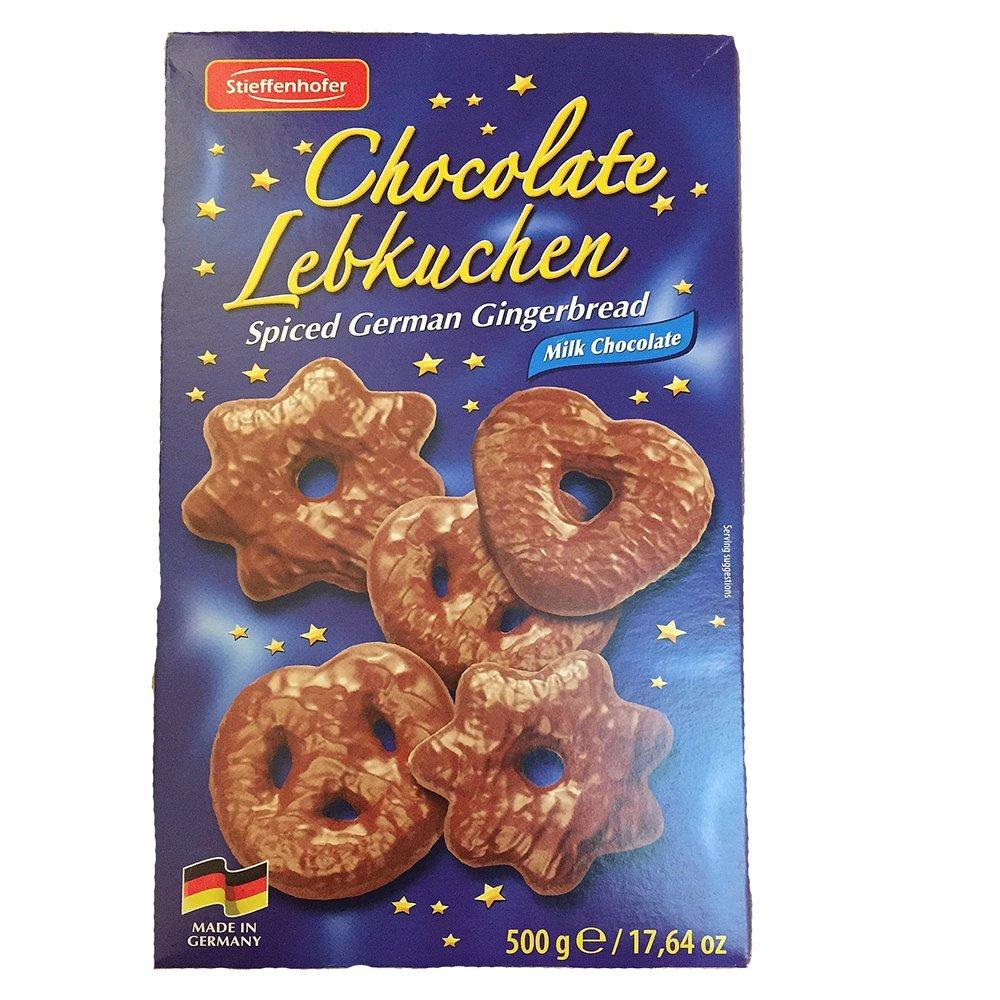 Stieffenhofer Chocolate Lebkuchen Spiced German Gingerbread Milk Chocolate 500g