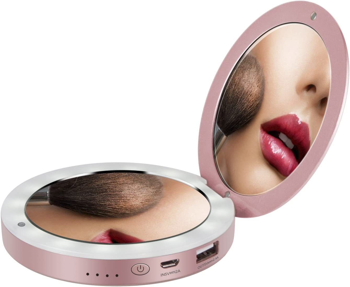 shinngo 3000mAh Portable Charger Mirror Compact Vanity Mirror with Lights for Personal Handheld Makeup (Rosegold)
