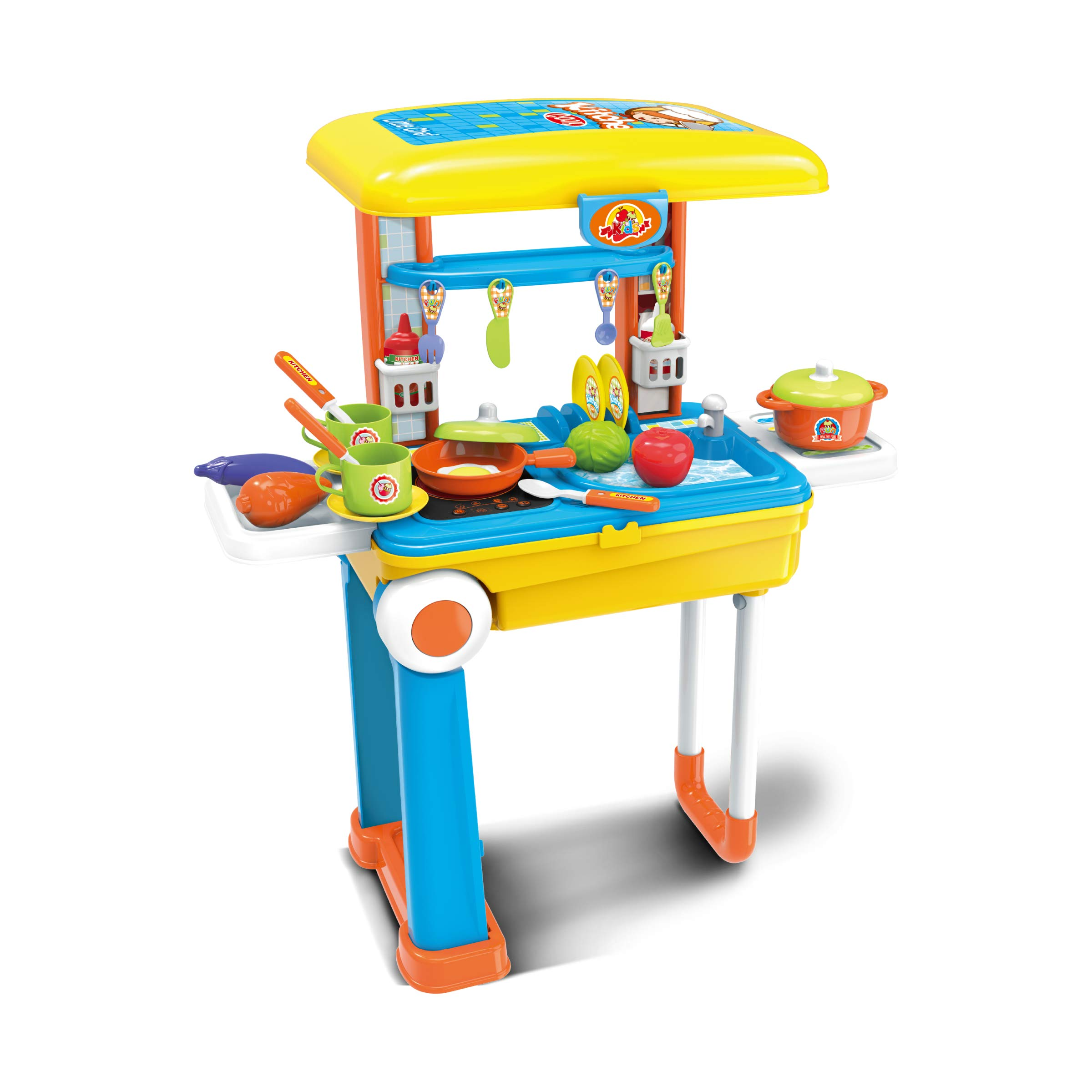 Toy Chef 2-in-1 Travel Suitcase Kitchen Set for Children | Includes Toy Pots, Pans, Dishes, Utensils & Foods ABS Plastic Pretend Play Kit for Boys & Girls (Blue/Yellow)