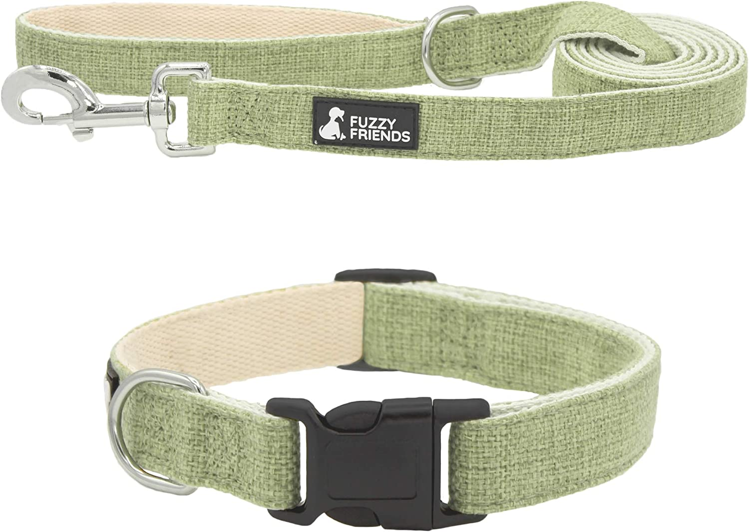 Lt Green Hemp Dog Collar. Natural, Chemical Free Dog Collars for Your Fuzzy Friends with Sensitive Skin. an Environment Friendly Collar Made of Sustainable Hemp with no Harsh Dyes or Chemicals.