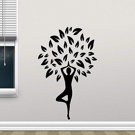 YuanMinglu Chica Yoga Pose de árbol Etiqueta de la Pared ...