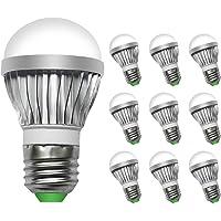 GLS Bombillas LED E27 3W Equivalente a 30W Blanco Frío 5000K no Regulable AC100-240V 10 Unidades