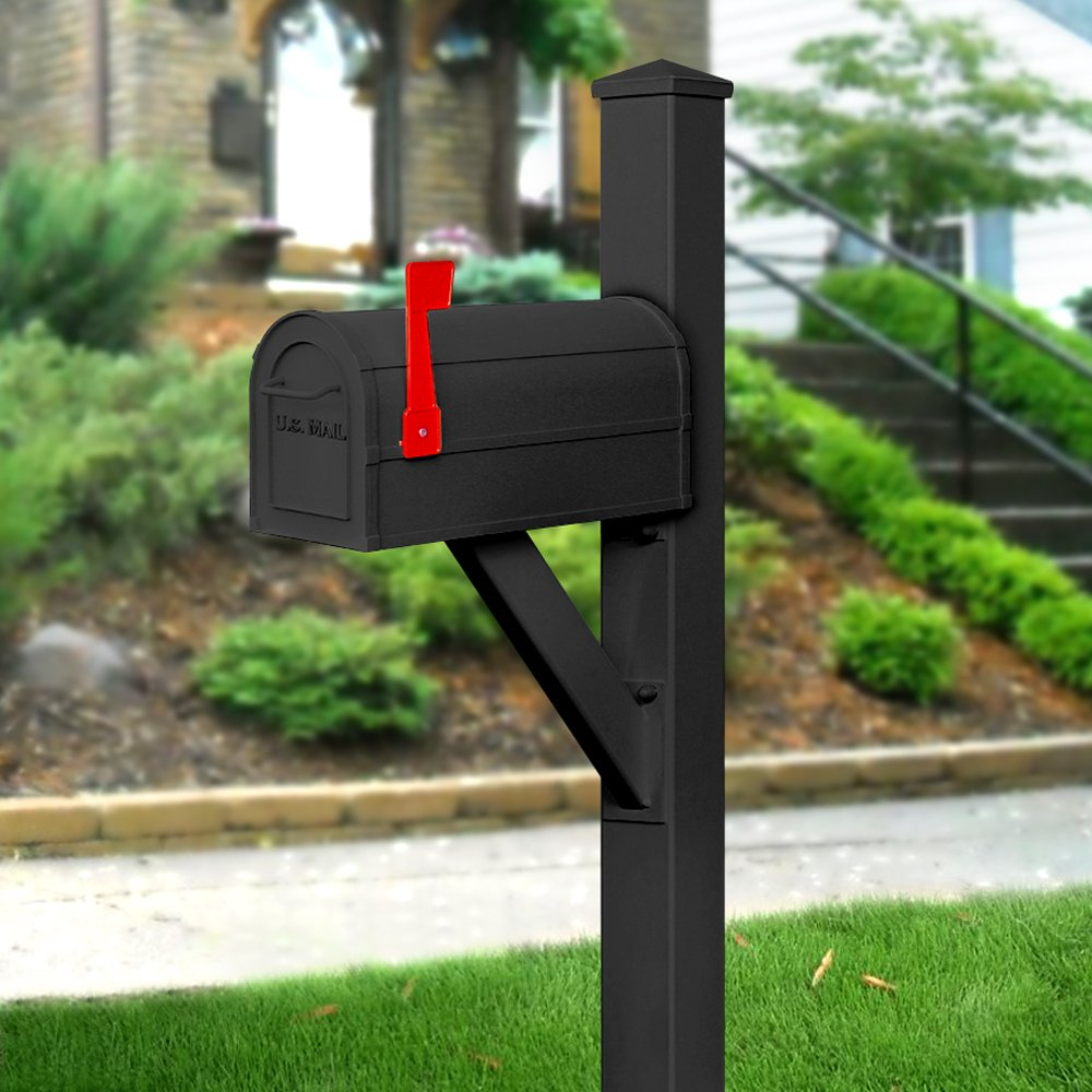 Salsbury Industries 4825BLK In-Ground Mounted Post Modern Decorative Mailbox, Black