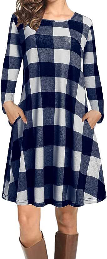CNFIO Mujer Camisa Vestido Cuello V Manga Larga Exterior Tops Moda Blusas