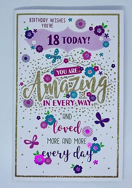 Tarjeta de cumpleaños de 18 años con purpurina y glamour ...