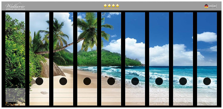 passend f/ür 8 schmale Ordnerr/ücken Wallario Ordnerr/ücken Sticker Sandstrand auf den Seychellen Urlaub unter Palmen in Premiumqualit/ät Gr/ö/ße 8 x 3,5 x 30 cm