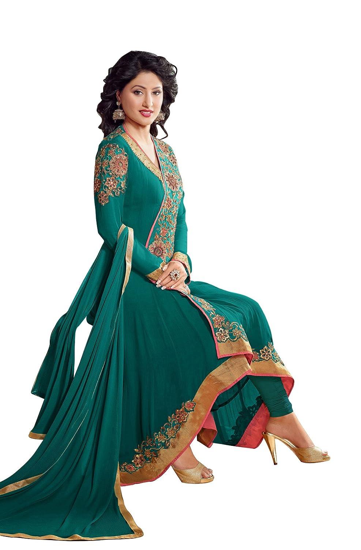 Aarti Saree Hina Khan Georgette Angrakha Style Churidar Fashionable