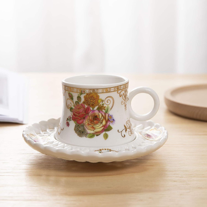 Set aus 6 Keramik Teetasse und Untertasse Porzellan Kaffee Tee Set ufengke 4oz Blumen Kaffeetasse Set