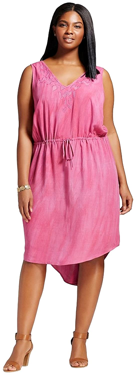 9fb4f67a1c83 Ava & Viv Women's Plus Size Embroidered Tank Dress (2X, Pomegranate Pink)  at Amazon Women's Clothing store: