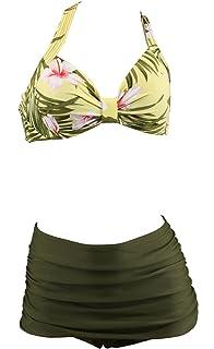 4d865b6daed0cb Aloha-Beachwear Women Vintage Two Piece Swimsuit Bikini Flower Floral Tiki  Hibiscus Hawaii Hawaiian
