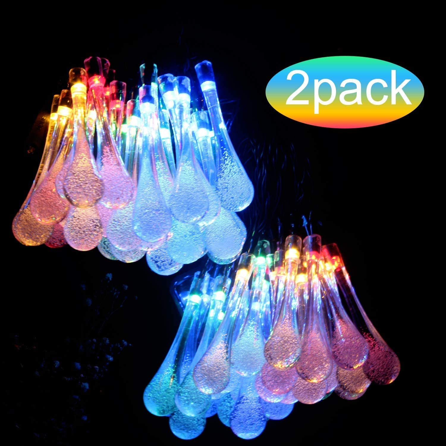 Beinhome Solar String Lights 8 Modes Multi Color Waterdrop Lights 30 LED 14.5Feet Waterproof LED Solar Fairy Lights Outdoor Decorative for Christmas Garden Patio(2-Pack)