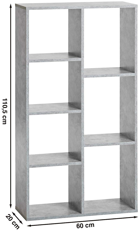 ts-ideen Libreria mensoliera Grigio Cemento con 7 vani