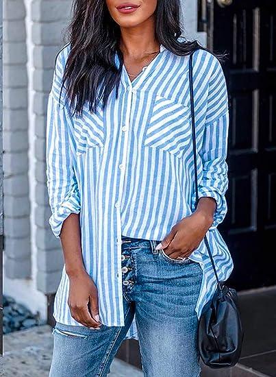 CORAFRITZ Camisa de manga larga de lino con solapa a rayas y ...