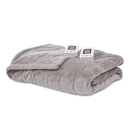 SensorPedic Heated Electric Blanket with SensorSafe, Queen, Soft Grey best queen sized electric blanket