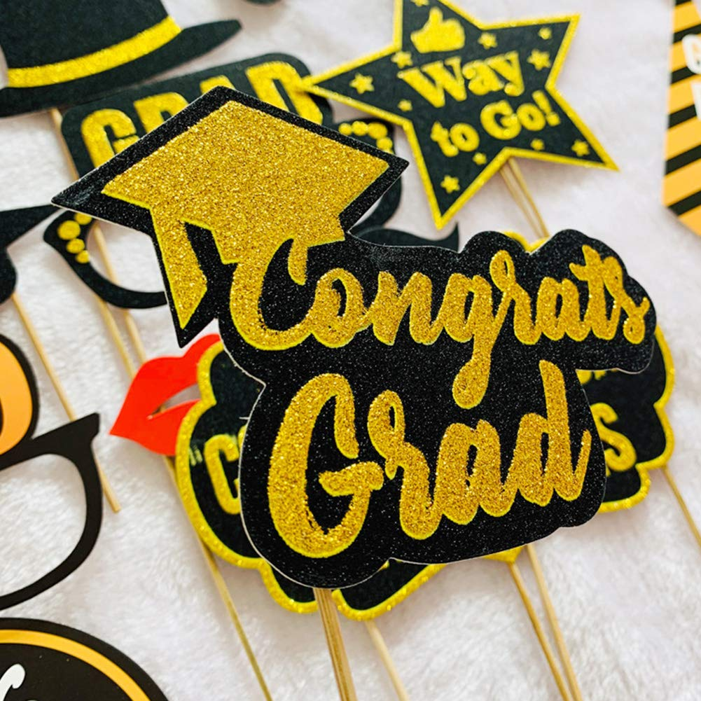 Ruiting Photobooth Dipl/ôme 2019 Graduation Photo Booth Props Costume Obention de Dipl/ôme Party Favor 13 Pieces Props Booth Graduation Selfie Photo Prop