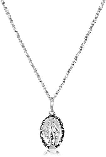 Amazon.com: Plata de ley Medalla Milagrosa con cadena de ...