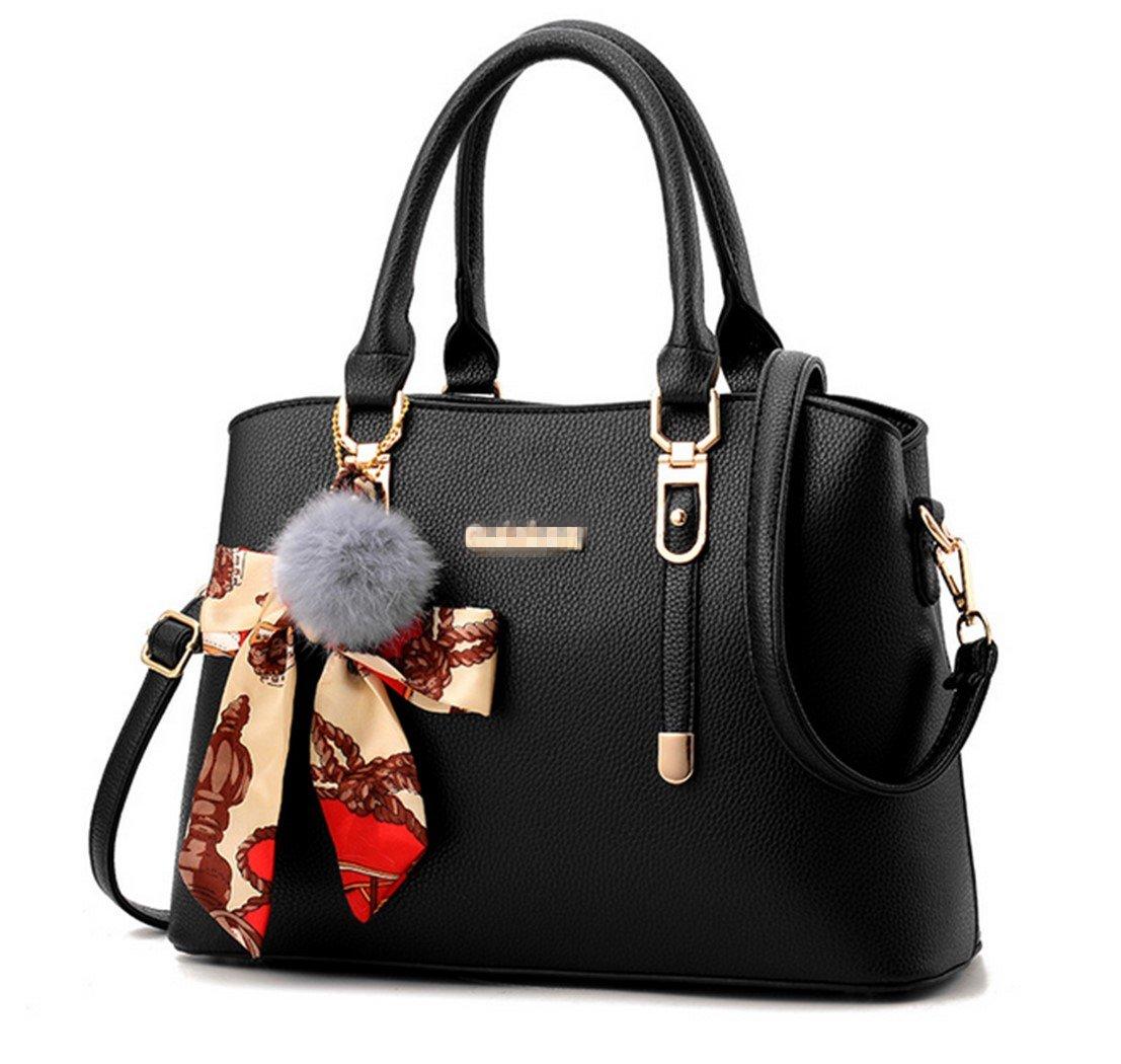 Nodykka Tote Bags For Women Handbags Top Handle Satchel Leather Shoulder Crossbody Purse (Black)