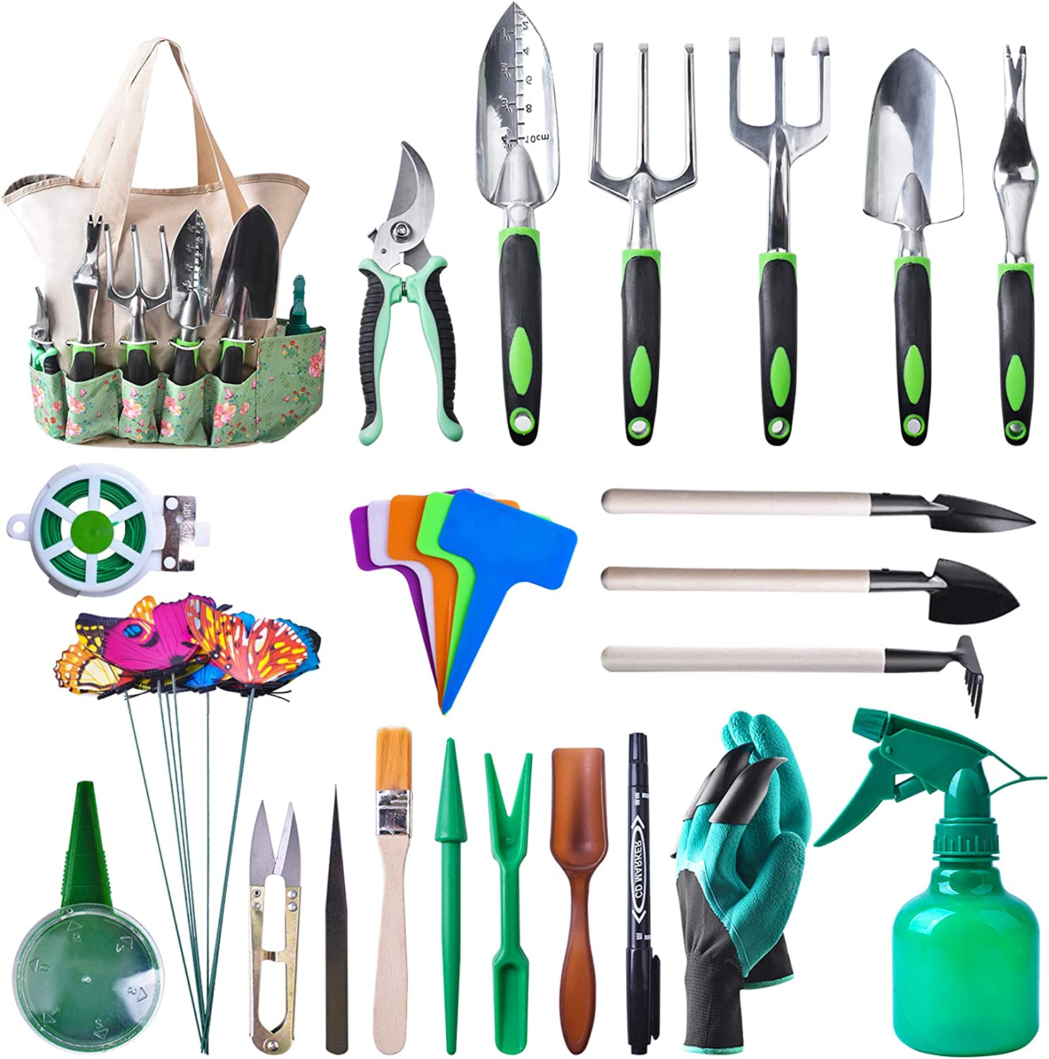 ETEPON Garden Tools Set, 50 Pieces Heavy Duty Gardening Tools with Soft Rubberized Non-Slip Handle Tools, Aluminum Outdoor Hand Tools with Garden Gloves and Handbag- Gardening Gifts for Women
