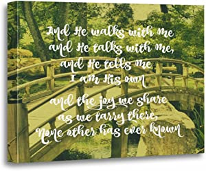 """TORASS Canvas Wall Art Print Faith Inspirational and He Walks with Me Quotes Artwork for Home Decor 12"""" x 16"""""""