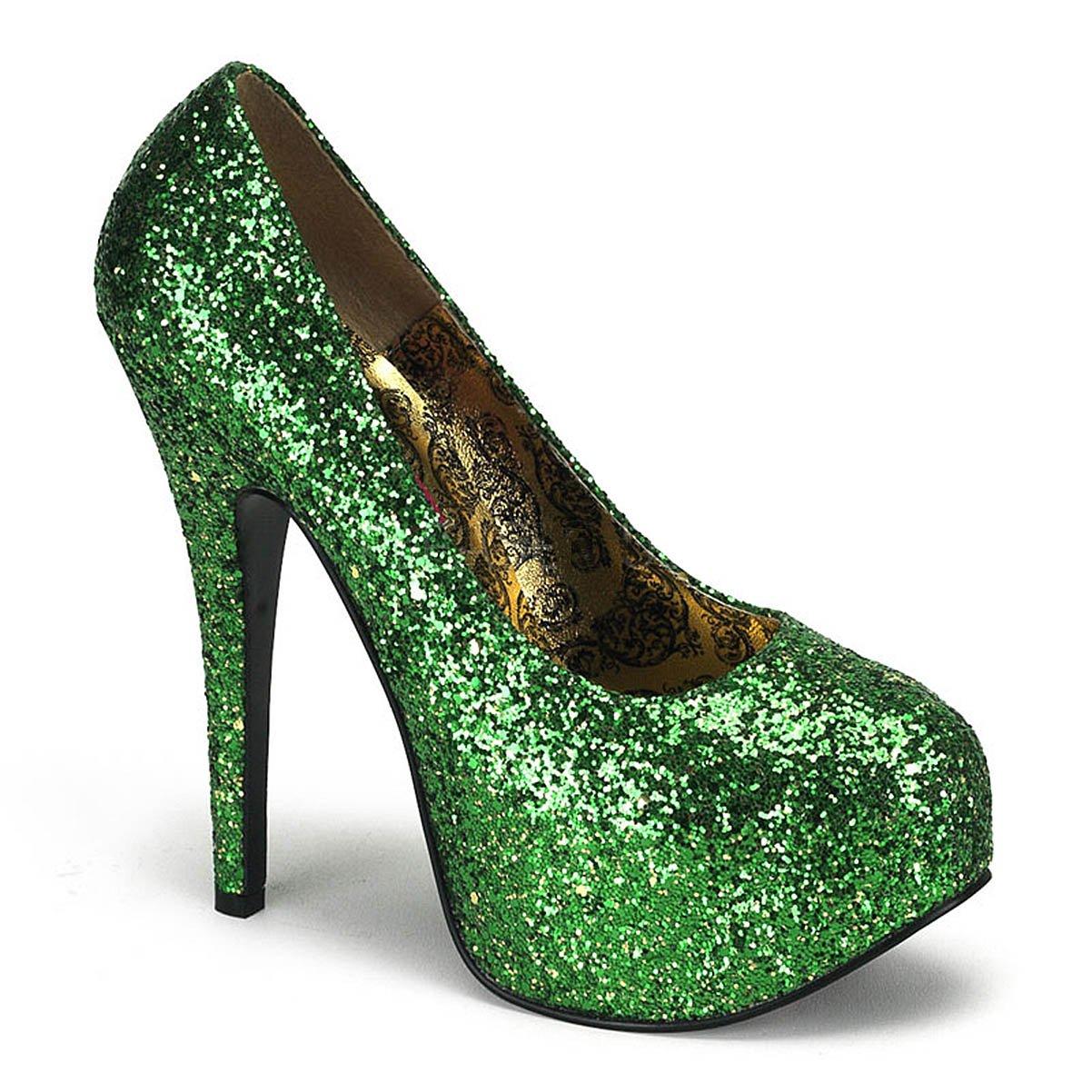 Amazon.com  Womens St Pattys Day Pumps Green Glitter Shoes 5 3 4 Inch Heel  St Patricks  Clothing 36693115f