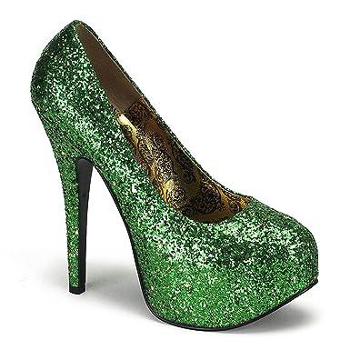 1ed3f380f9cc Womens St Pattys Day Pumps Green Glitter Shoes 5 3/4 Inch Heel St Patricks