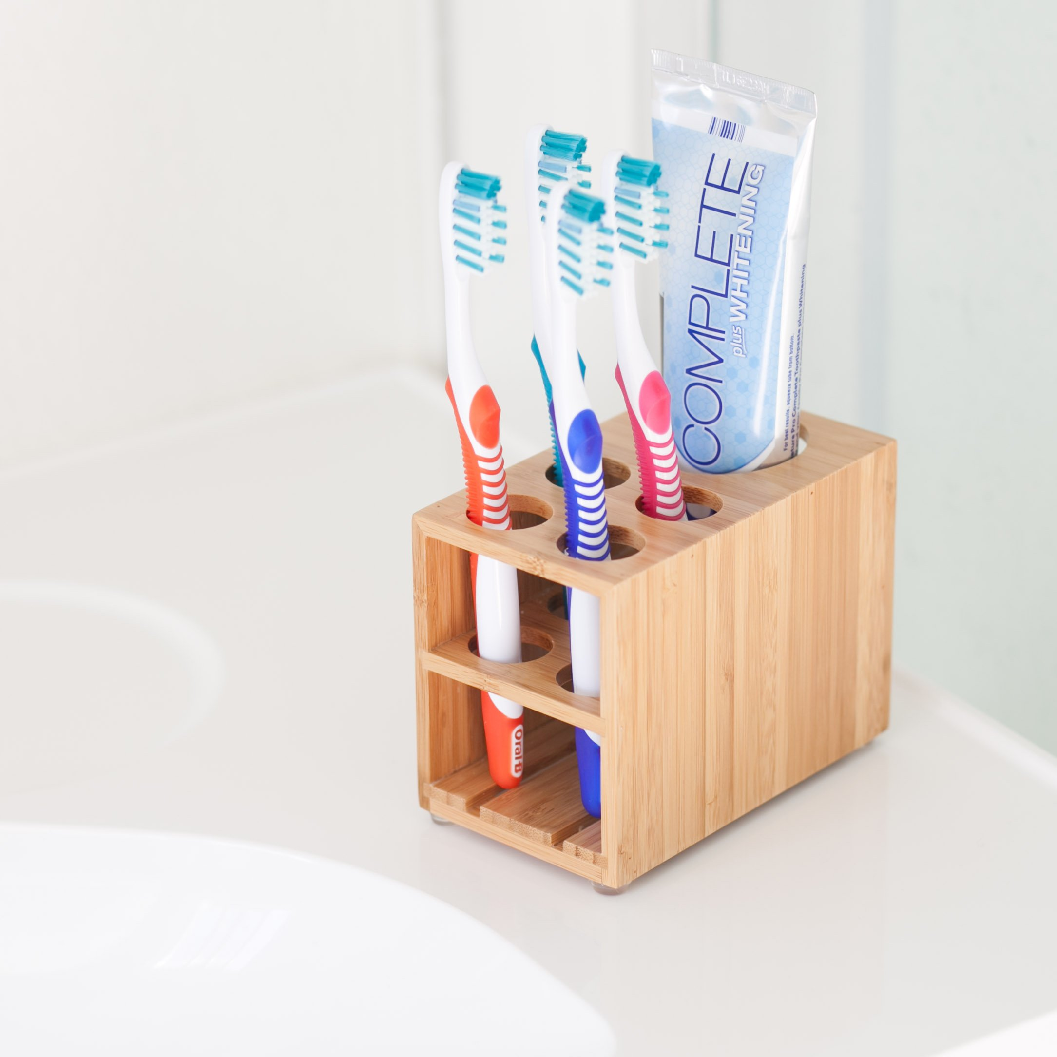 MobileVision Toothbrush and Toothpaste Holder Stand for Bathroom Vanity Storage, Bamboo, 5 Slots by MobileVision (Image #6)