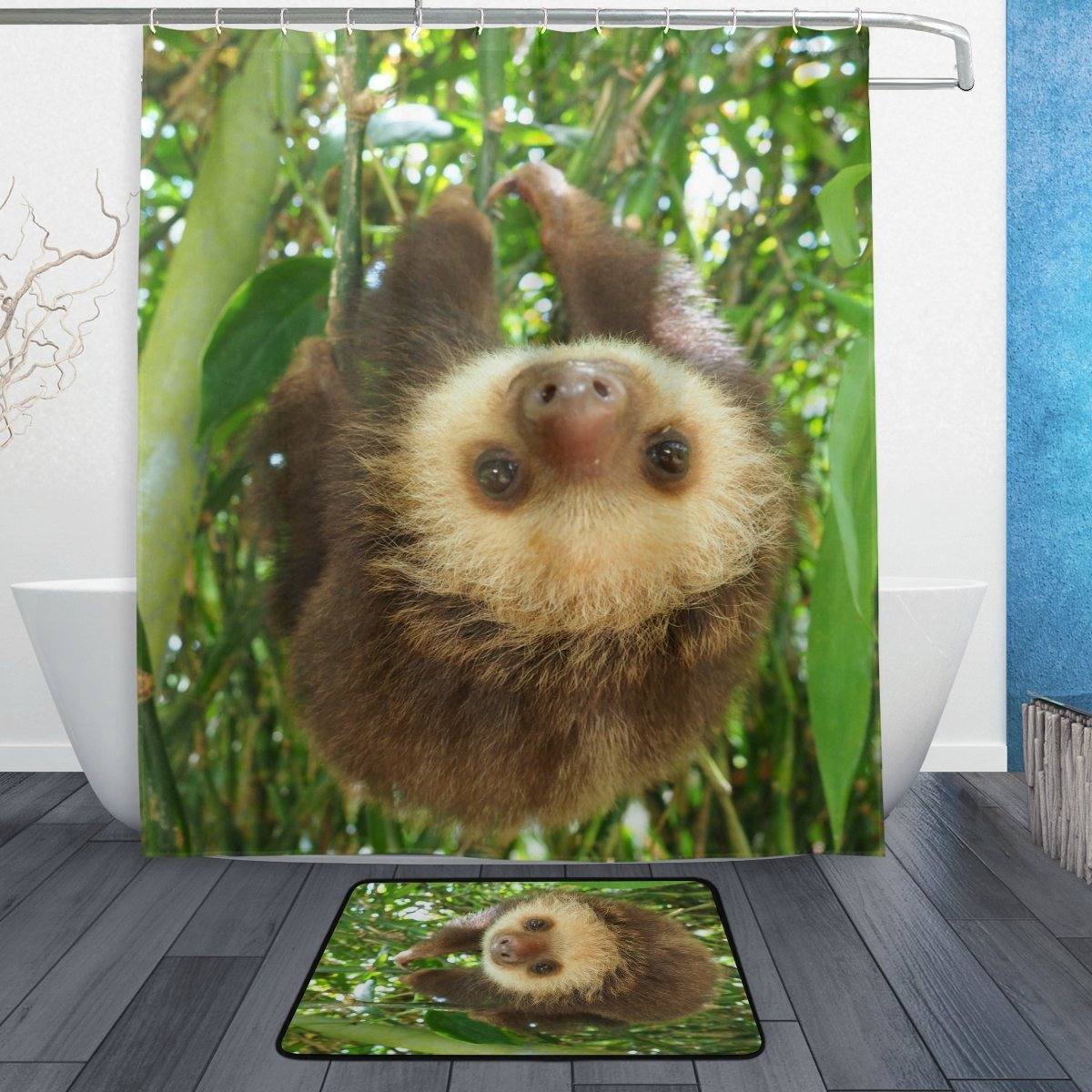 ALAZA Set of 2 Cute Animal Sloth 60 X 72 Inches Shower Curtain and Mat Set, Baby Sloth on Tree Branches Waterproof Fabric Bathroom Curtain and Rug Set with Hooks