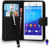 Sony Xperia M4 AQUA Premium Leather Black Wallet Flip Case Cover Pouch + Big Touch Stylus Pen + BLUE 2 IN 1 Dust Stopper + Screen Protector & Polishing Cloth BY SHUKAN®, (WALLET BLACK)