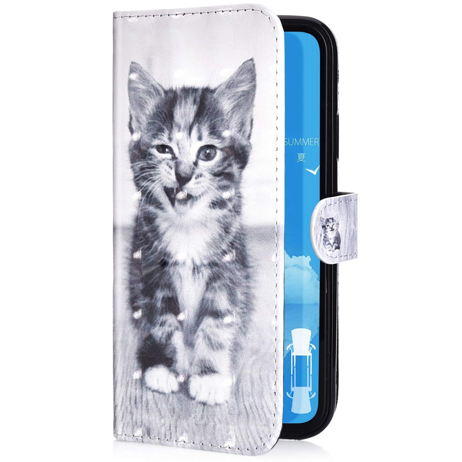 PHEZEN Case for iPhone 7 Plus,iPhone 8 Plus Wallet Case,3D Bling PU Leather Folio Flip Case Full Body Protective Phone Case Cover with Kickstand Credit Card Wrist Strap Husky