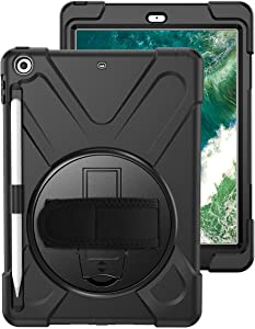 BRAECNstock New iPad 2018/ 2017 Case(5th Generation), Three Layer Heavy Duty Soft Silicone Hard Bumper Case Built-in Kickstand Shockproof Durable Rugged Case for New iPad 9.7 Inch 2018/ 2017(Black)