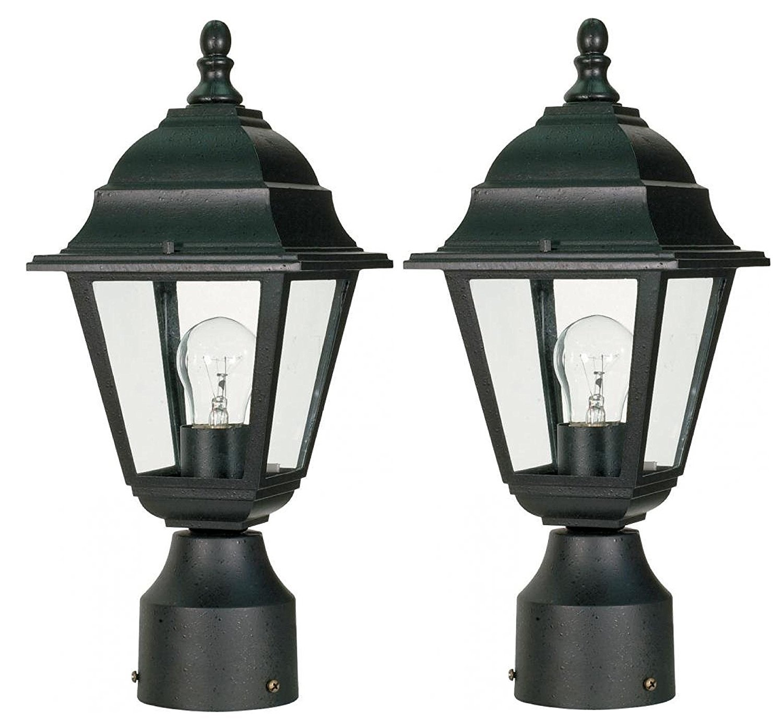 Nuvo Lighting 2 Pack 60/548 One Light Post Lantern (Black, 2-Pack)