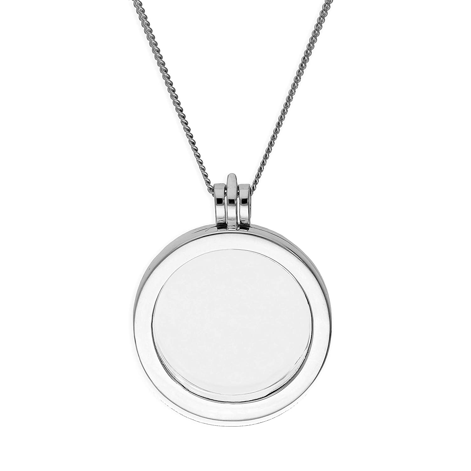 Large Sterling Silver Round Floating Charm Locket on Chain 16-24 Inches