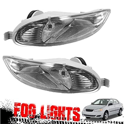For 2005-2008 Toyota Corolla Camry Solara Front Bumper Lamp Clear Fog Light Pair