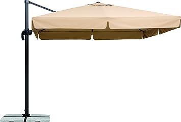 Schneider Sonnenschirm Rhodos, Natur, 300x300 Cm Quadratisch, Gestell  Aluminium/Stahl, Bespannung