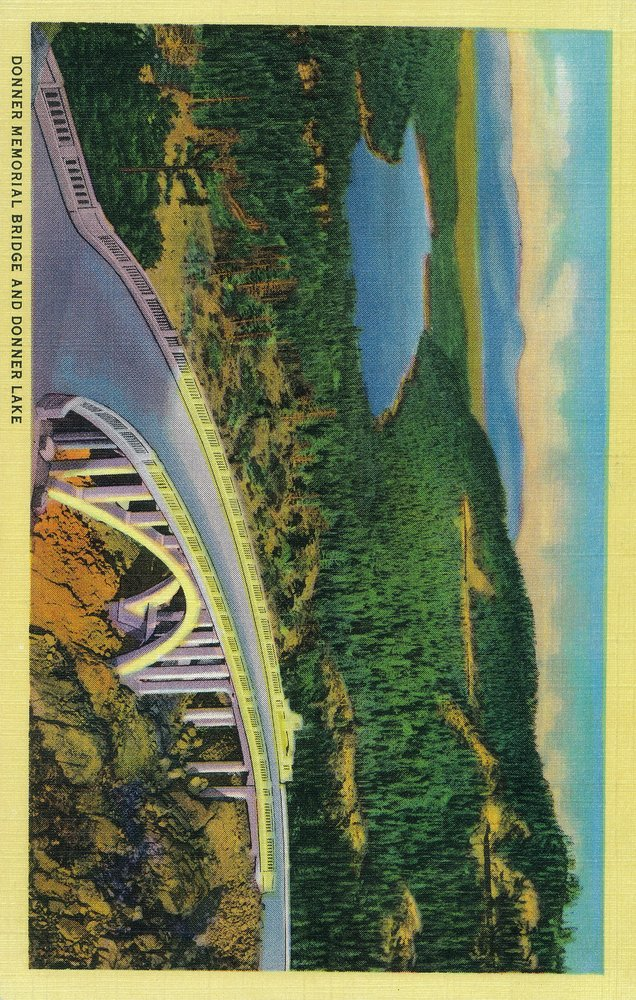 Donner Memorial Bridge and Donner Lake in Distance (12x18 Art Print, Wall Decor Travel Poster)