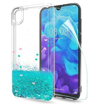 LeYi Funda Huawei Y5 2019 Silicona Purpurina Carcasa con HD Protectores de Pantalla Transparente Cristal Bumper Telefono Gel TPU Fundas Case Carcasas ...